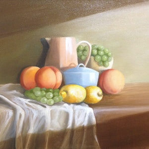 (CreativeWork) Fruit for the Sideboard by Kathryn Johnston. oil-painting. Shop online at Bluethumb.