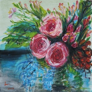 (CreativeWork) The Tea Rose Garden by Lily Iris. arcylic-painting. Shop online at Bluethumb.