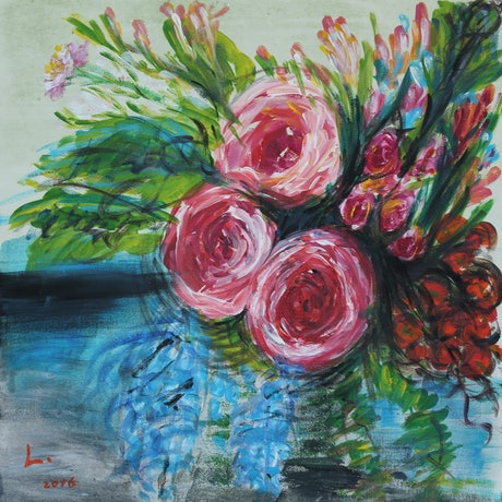 (CreativeWork) The Tea Rose Garden by Lily Iris. Acrylic Paint. Shop online at Bluethumb.