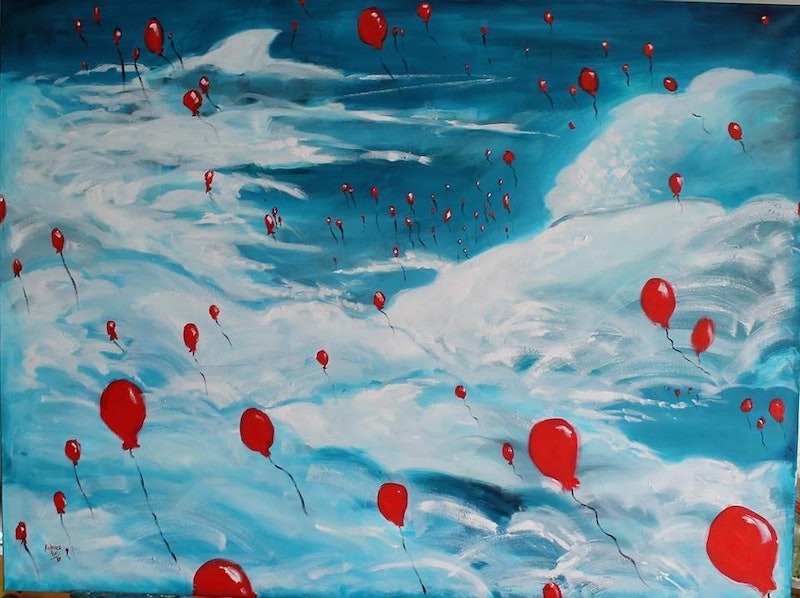 Shop Online CreativeWork 99 RED BALLOONS By Rebecca Read Oil Painting