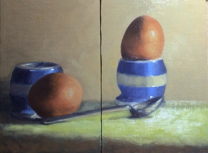 (CreativeWork) Breakfast time - Diptych by Pilar de la Torre. oil-painting. Shop online at Bluethumb.