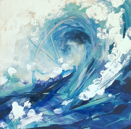(CreativeWork) Waiting for my wave by Sumei chew. mixed-media. Shop online at Bluethumb.