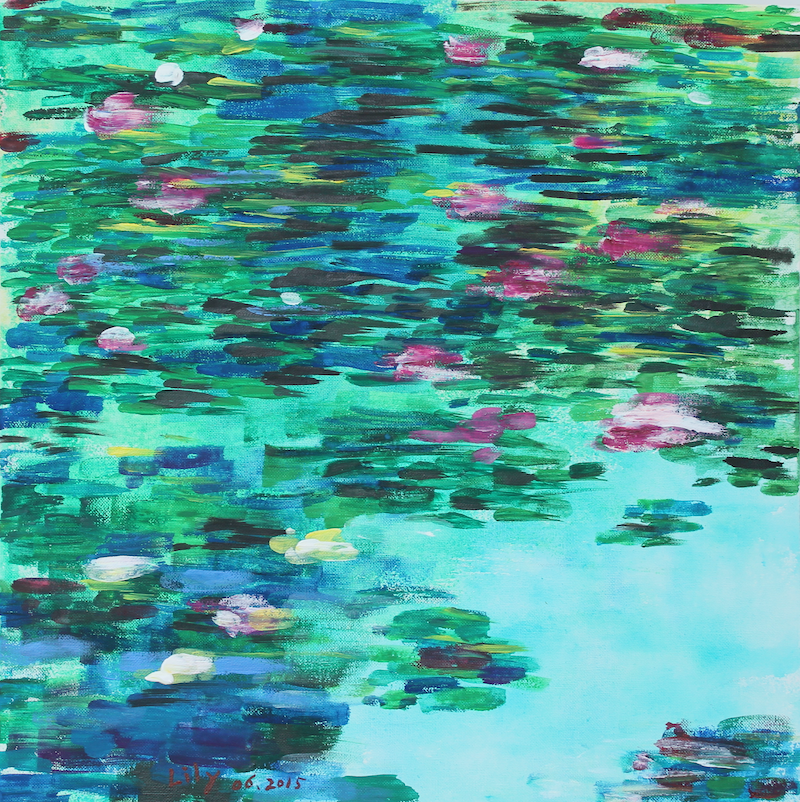 (CreativeWork) The Water Lily Pond One by Lily Iris. arcylic-painting. Shop online at Bluethumb.