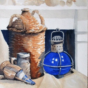 (CreativeWork) The Blue Lamp by John and Michele Hinves. watercolour. Shop online at Bluethumb.