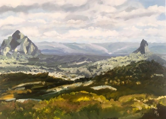 (CreativeWork) Glasshouse Mountains. Beerwah and Crookneck by Meredith Howse. Oil Paint. Shop online at Bluethumb.