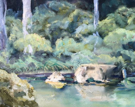 (CreativeWork) Japanese Garden by Meredith Howse. Oil. Shop online at Bluethumb.