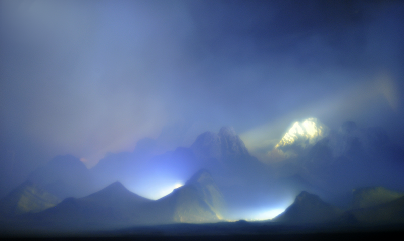 (CreativeWork) Side Lit Mountains by Mark Kimber. photograph. Shop online at Bluethumb.