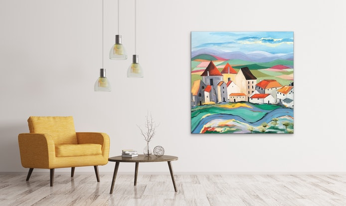 (CreativeWork) French Village by Meredith Howse. #<Filter:0x00007fc1930df280>. Shop online at Bluethumb.