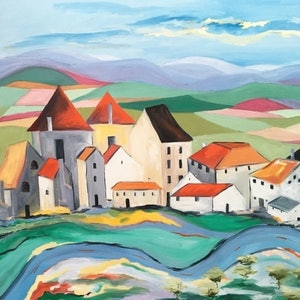 (CreativeWork) French Village by Meredith Howse. oil-painting. Shop online at Bluethumb.