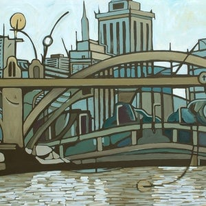 (CreativeWork) My River City Sky by Laing Rahner. acrylic-painting. Shop online at Bluethumb.