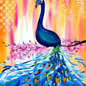 (CreativeWork) Peacock joy by Cathy Snow. arcylic-painting. Shop online at Bluethumb.
