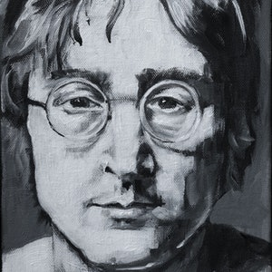 (CreativeWork) John Lennon miniature portrait by Katrina Okoronkwo. arcylic-painting. Shop online at Bluethumb.