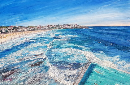 (CreativeWork) Bondi Summer by Donna Gibb. oil-painting. Shop online at Bluethumb.