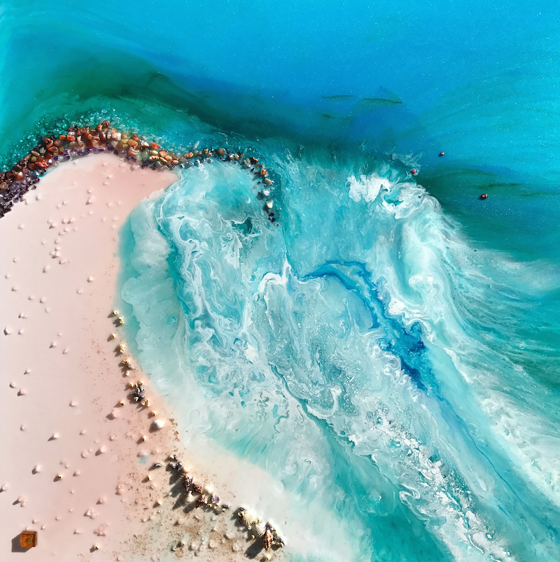 (CreativeWork) Aqua swell - Teal  Blue Ocean Wave Beach - OCEAN SEASCAPE Original Abstract Seascape  by MARIE ANTUANELLE. resin. Shop online at Bluethumb.