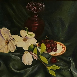 (CreativeWork) Life is a bowl of cherries. by Trudie Diserens. arcylic-painting. Shop online at Bluethumb.