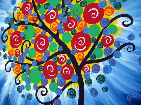 (CreativeWork) Bright circle tree by Cathy Jacobs. Acrylic Paint. Shop online at Bluethumb.