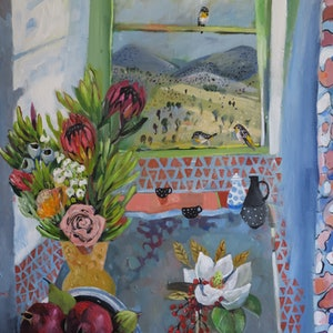 (CreativeWork) Proteas, Pomegranates and Birds by Susan Trudinger. arcylic-painting. Shop online at Bluethumb.