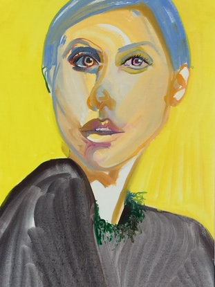 (CreativeWork) Yellow girl by Carla Foster. Oil Paint. Shop online at Bluethumb.