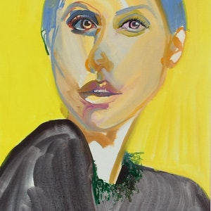 (CreativeWork) Yellow girl by Carla Foster. oil-painting. Shop online at Bluethumb.