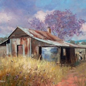(CreativeWork) Jacaranda beside the Old Barn by Robert Todonai. oil-painting. Shop online at Bluethumb.
