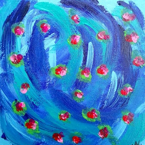 (CreativeWork)  Abstract Water Lillies Expressionist  Ready to hang  Signed Red Blue Green  by Nicole Marie. arcylic-painting. Shop online at Bluethumb.