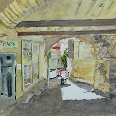 (CreativeWork) Shopping under the Arches  by Monika Scheffler. Watercolour Paint. Shop online at Bluethumb.