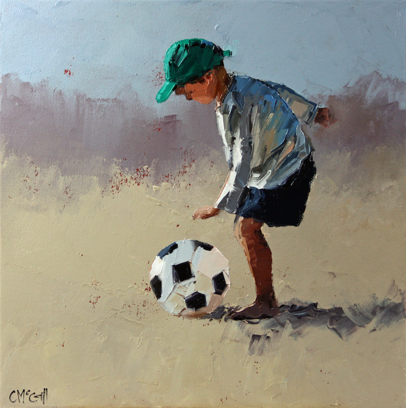 (CreativeWork) 'Ready.....Set.....Kick' by Claire McCall. oil-painting. Shop online at Bluethumb.