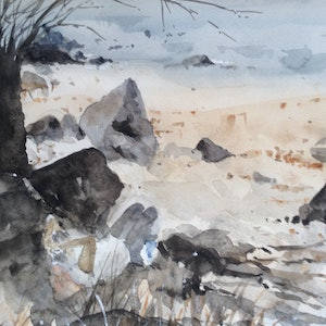 (CreativeWork) Wineglass Bay (after a glass or two) by Bernd Rieve. watercolour. Shop online at Bluethumb.