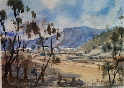 (CreativeWork) Bylong Valley by Helen Elphinstone - King. watercolour. Shop online at Bluethumb.