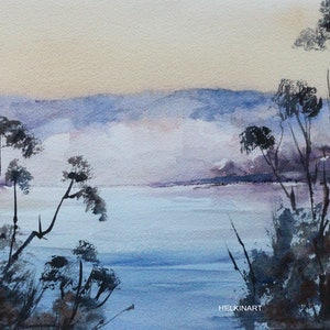 (CreativeWork) Morning Mist across the Lake by Helen Elphinstone - King. watercolour. Shop online at Bluethumb.