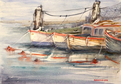 (CreativeWork) Boats for Hire by Helen Elphinstone - King. watercolour. Shop online at Bluethumb.