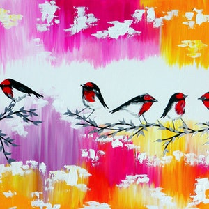(CreativeWork) Joyous robins by Cathy Jacobs. arcylic-painting. Shop online at Bluethumb.