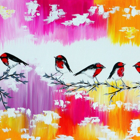 (CreativeWork) Joyous robins by Cathy Jacobs. Acrylic Paint. Shop online at Bluethumb.