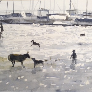 (CreativeWork) Dog Day Afternoon by Bernd Rieve. watercolour. Shop online at Bluethumb.