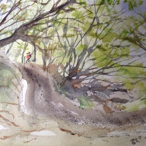 (CreativeWork) Anyone seen the River? by Bernd Rieve. watercolour. Shop online at Bluethumb.