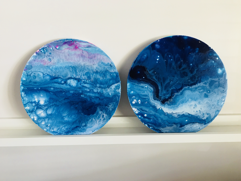 (CreativeWork) Sapphire Reflections Series I & II by Virginia Harding. arcylic-painting. Shop online at Bluethumb.
