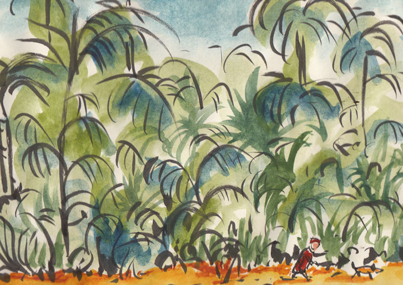 (CreativeWork) In the Rainforest by Nik Scott. watercolour. Shop online at Bluethumb.