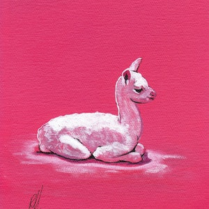 (CreativeWork) Alpaca by Ross Morgan. arcylic-painting. Shop online at Bluethumb.