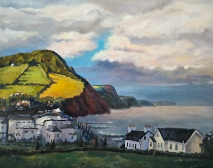 (CreativeWork) Early morning in Sidmouth by Ekaterina Strounina. oil-painting. Shop online at Bluethumb.