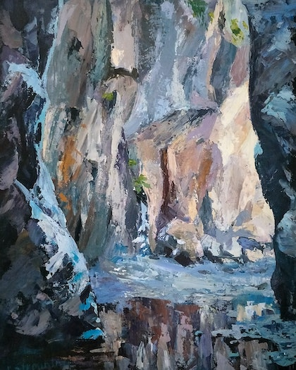 (CreativeWork) Northbrook Gorge II by Ekaterina Strounina. arcylic-painting. Shop online at Bluethumb.