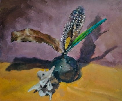 (CreativeWork) Feathers and bones by Ekaterina Strounina. oil-painting. Shop online at Bluethumb.