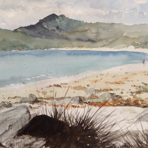 (CreativeWork) Wineglass Bay without a drink by Bernd Rieve. watercolour. Shop online at Bluethumb.