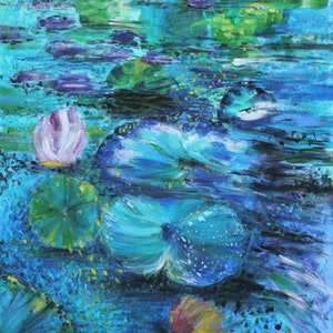 (CreativeWork) The Water Lily Pond Three by Lily Iris. arcylic-painting. Shop online at Bluethumb.