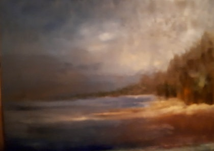 (CreativeWork) River with Storm Approaching. by Roger Reading. oil-painting. Shop online at Bluethumb.