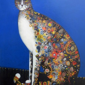 (CreativeWork) The big cat by John Graham. Oil Paint. Shop online at Bluethumb.