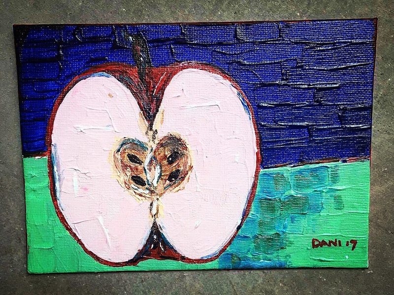 (CreativeWork) The Apple  by Dani Prideaux. arcylic-painting. Shop online at Bluethumb.