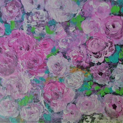 (CreativeWork) Gift of Roses by Berit Zetterman. arcylic-painting. Shop online at Bluethumb.