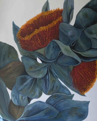 (CreativeWork)  Large Floating Gum Flowers by Maria Cross. Acrylic Paint. Shop online at Bluethumb.