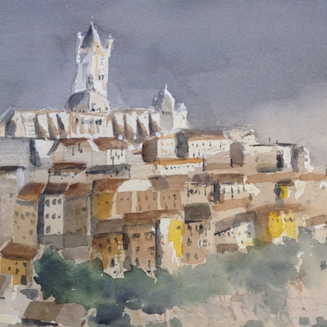 (CreativeWork) Siena at First Light  by Bernd Rieve. Watercolour Paint. Shop online at Bluethumb.