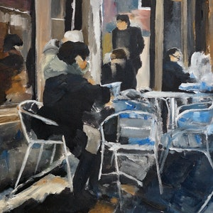 (CreativeWork) A Venetian Caffe by Rachael McDiarmid. acrylic-painting. Shop online at Bluethumb.